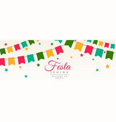 festa junina flags garland decoration banner vector image