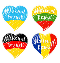 flag heart national brand vector image