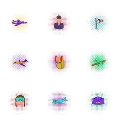 flying vehicles icons set pop-art style vector image