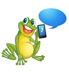 Frog with cell phone vector