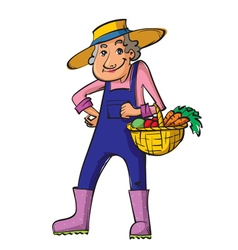 Gardener old woman vector