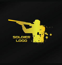 gold soldier logo template vector image