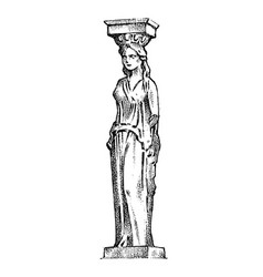 greek column statue in greece woman in antique vector image