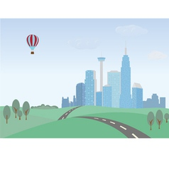 Green hills and cityscape vector image