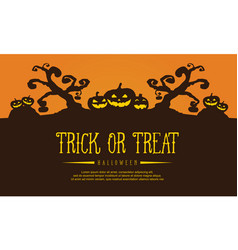 halloween background with tree and pumpkin vector image