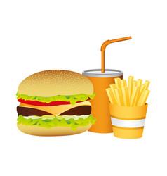 hamburger soda and fries french food vector image