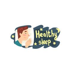 healthy sleep man sleeping in his bed at night vector image
