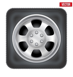 Icon of square car wheel on white background vector image