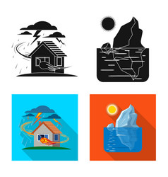 isolated object of natural and disaster logo set vector image