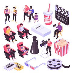 isometric cinema set vector image