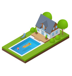 Isometric modern villa outdoor with swimming pool vector