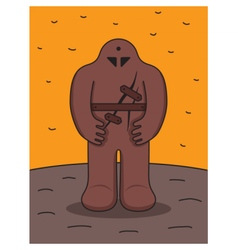 Jewish Golem Medieval Prague legend Clay monster vector image