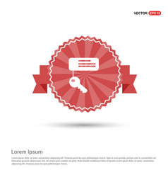 Key chain icon - red ribbon banner vector