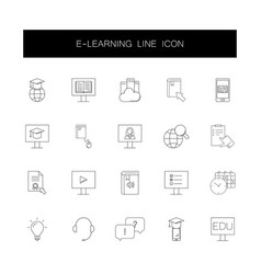 line icons set e-learning pack vector image