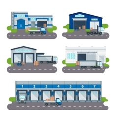 Logistics collection warehouse delivery center vector