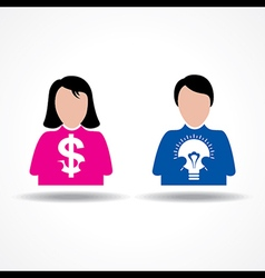Male Female icon having money and idea bulb vector image