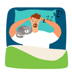man sleeping in bed with cat vector image