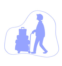 Man with luggage trolley silhouette vector