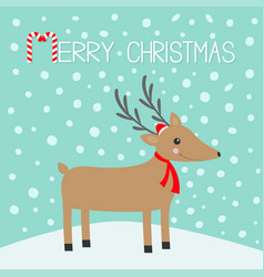 merry christmas candy cane reindeeer head cute vector image