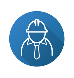 Mine worker flat linear long shadow icon vector