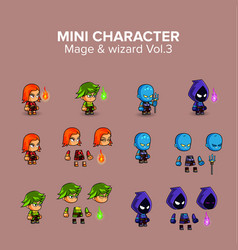 Mini magical and wizard character kit vector