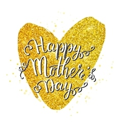 Mothers day lettering on golden heart vector image