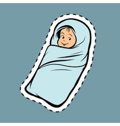 Newborn bapop art label sticker vector