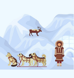 North people in traditional eskimos costume vector