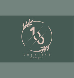 Number 100 1 0 logo with circle frame and pastel vector