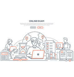 online exam - line design style web banner vector image