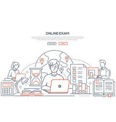 Online exam - line design style web banner vector