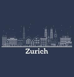 Outline zurich switzerland city skyline with vector