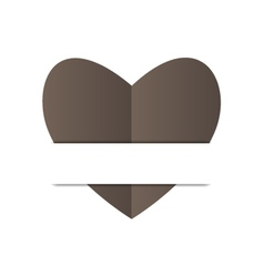 Paper black heart on white background vector