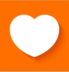 Paper heart on orange background vector image