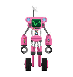 Pink robot with satellite and sound wave indicator vector