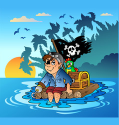pirate sailing on wooden raft vector image