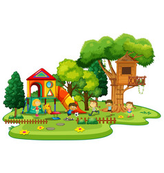 playground scene with children playing vector image
