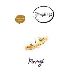 polish dumpling pierogi watercolor vector image