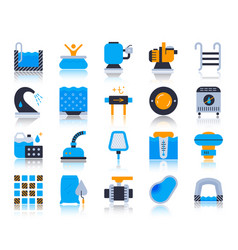 Pool equipment simple flat color icons set vector
