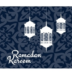 Ramadan Kareem greeting card with arabic lanterns vector image