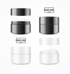 Realistic cream can cosmetic product black and vector