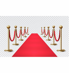 Red carpet with a golden barrier for vip events vector