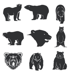 Retro bear mascot for emblems logos icons vector image