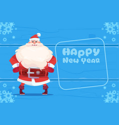 santa claus on happy new year greeting card vector image