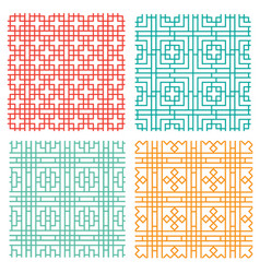 seamless geometric line pattern in chinese style vector image