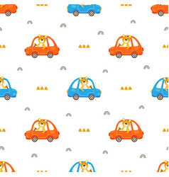 seamless pattern with driver animal vector image