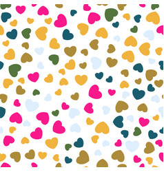 seamless pattern with flat color hearts vector image