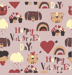 seamless pattern with valentines day elements vector image