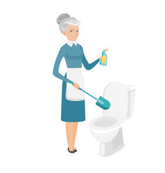 Senior caucasian cleaner cleaning toilet bowl vector