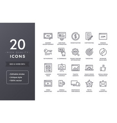 Seo line icons vector